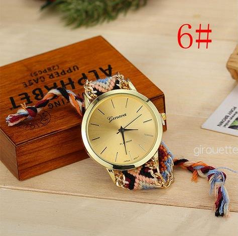 【即納】ミサンガウォッチ 刺繍 ボヘミアン ブレスレット風 腕時計 フェザーブレスセット #6