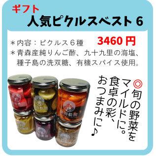 人気ピクルスベスト6【ギフトセット 熨斗対応可、送料別】