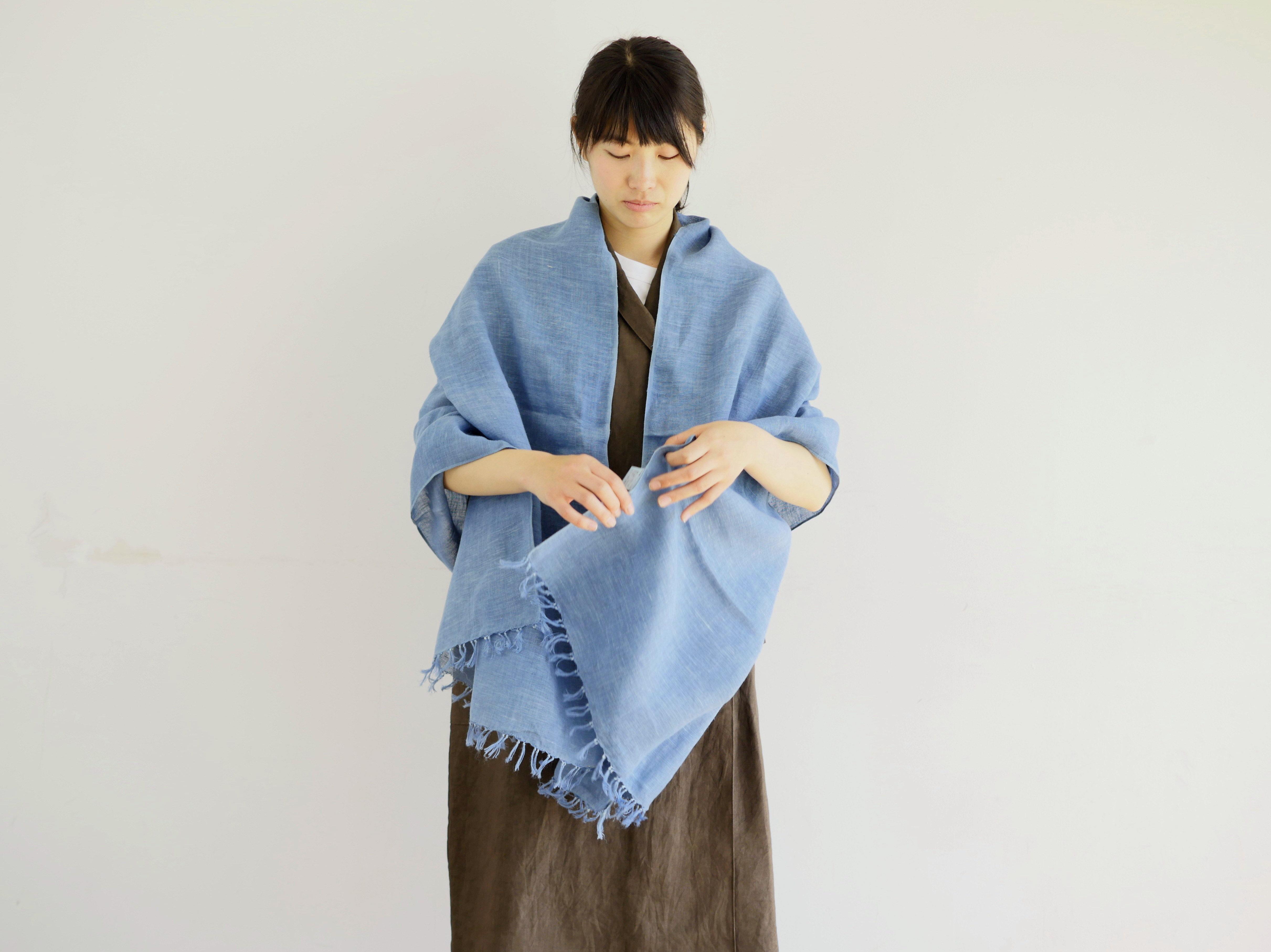 エシカルヘンプ手織りストール 正藍染め縹色 M