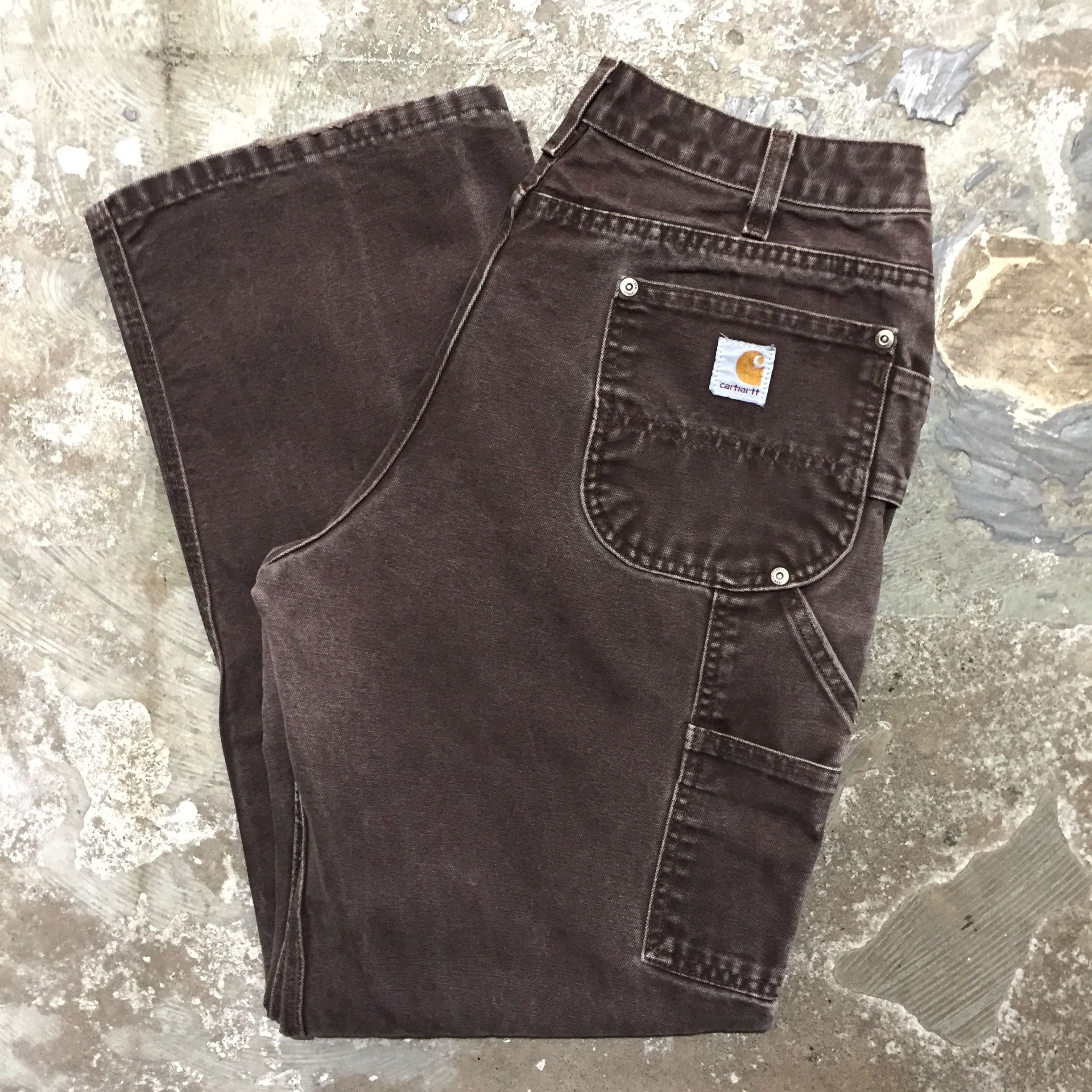 80's~ Carhartt Double Knee Painter Pants DARK BROWN  W : 34