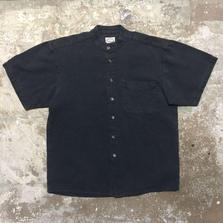 Linen Cotton Band Collar Shirt