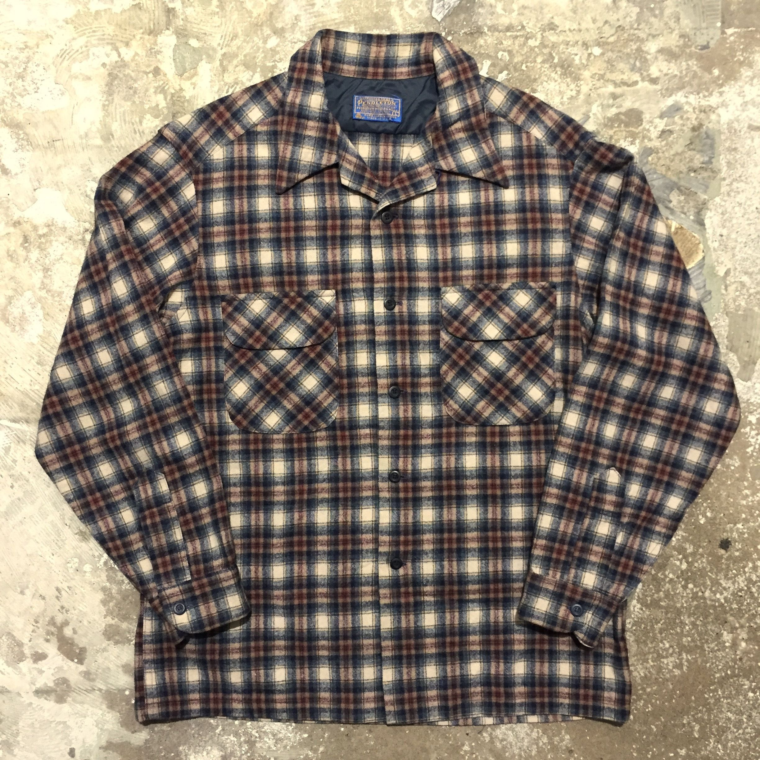 70's PENDLETON Wool Board Shirt NAVY×OFF WHITE