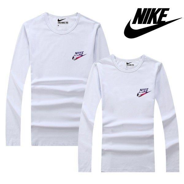 ホワイト 可愛いナイキトレーナー スウェット Nikeシャツ 丸い口 長袖 カップル ペアルック 運動適用