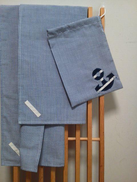給食用ランチクロス2枚と巾着袋◎紺のギンガムチェック