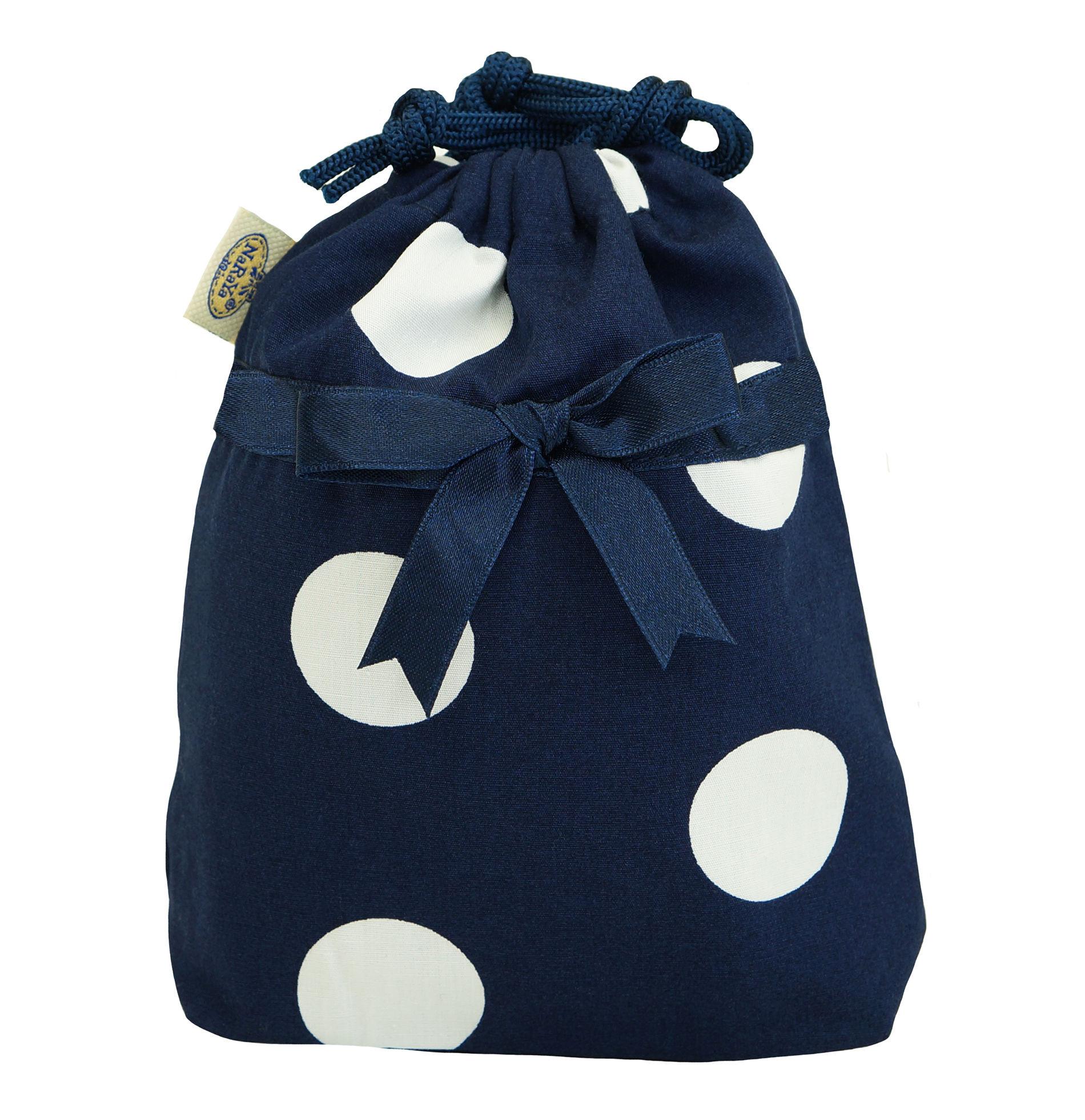 NaRaYa(ナラヤ) 巾着袋ポーチ(ランジェリーポーチ トラベルポーチ)・ドットネイビー(NB-258/S  )