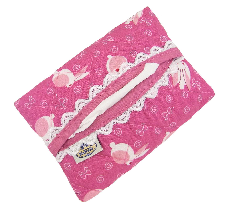 NaRaYa(ナラヤ) ポケットティッシュケース・白レース付き・ウサギ