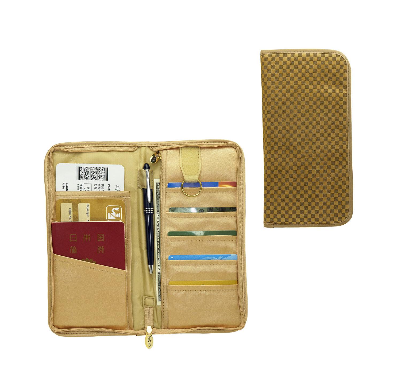 リボンバッグで有名なタイ・NaRaYa(ナラヤ) パスポートケース・ミニチェック柄(ディープゴールド) NBCS-296A