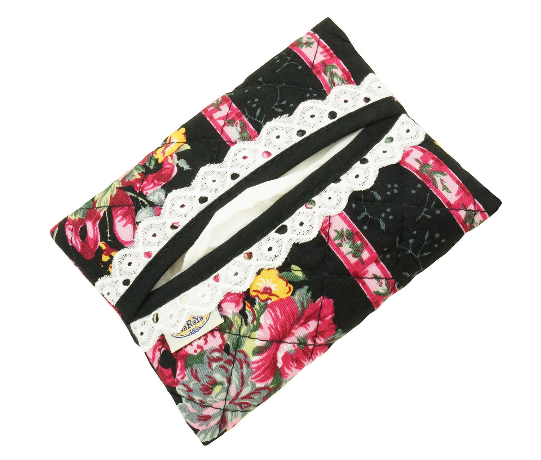NaRaYa(ナラヤ) ポケットティッシュケース・白レース付き・ストライプローズ