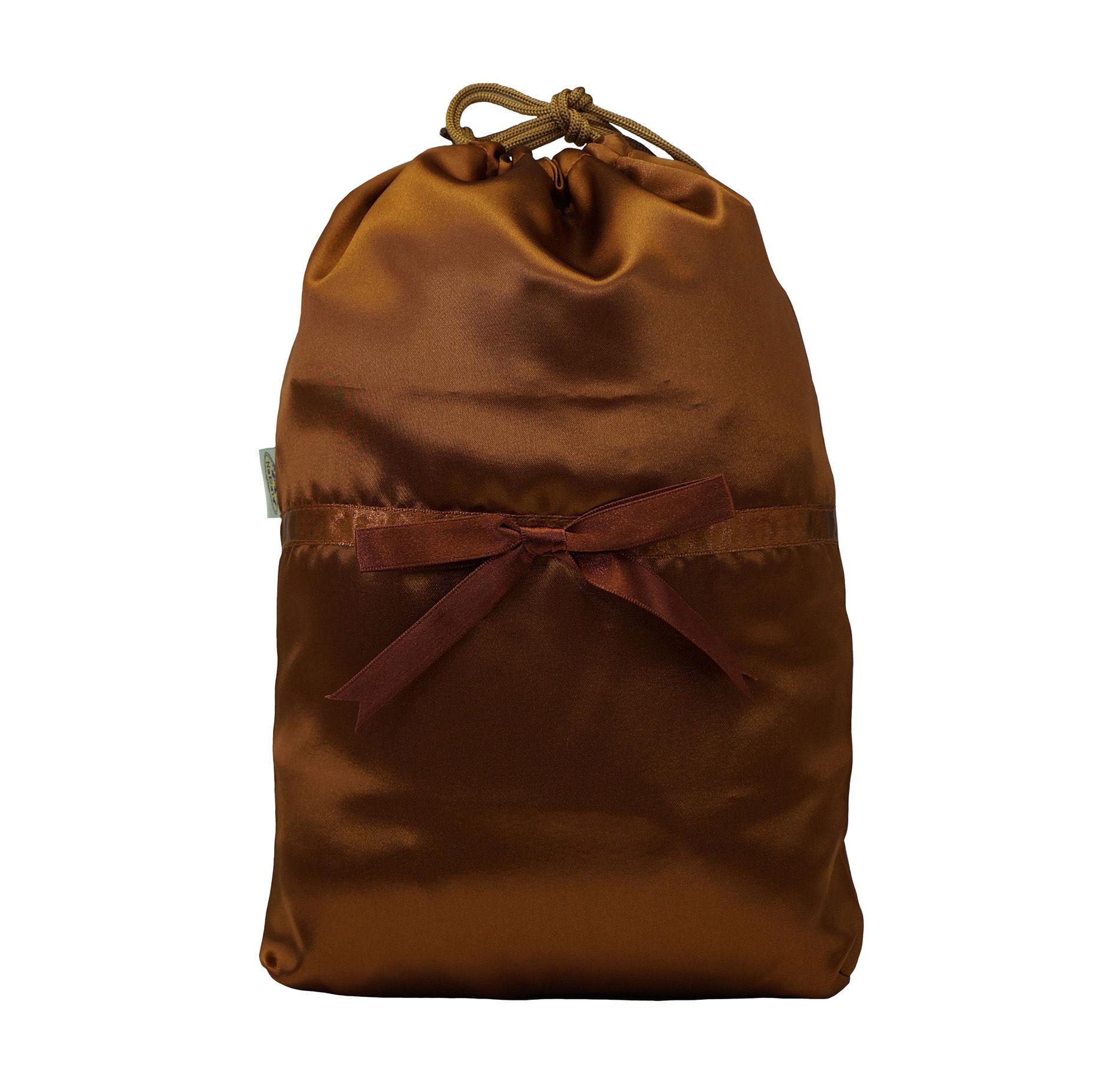 NaRaYa(ナラヤ) 巾着袋コスメポーチ( ランジェリーポーチ トラベルポーチ )(L)・サテン(テラコッタ) NBS-258/M