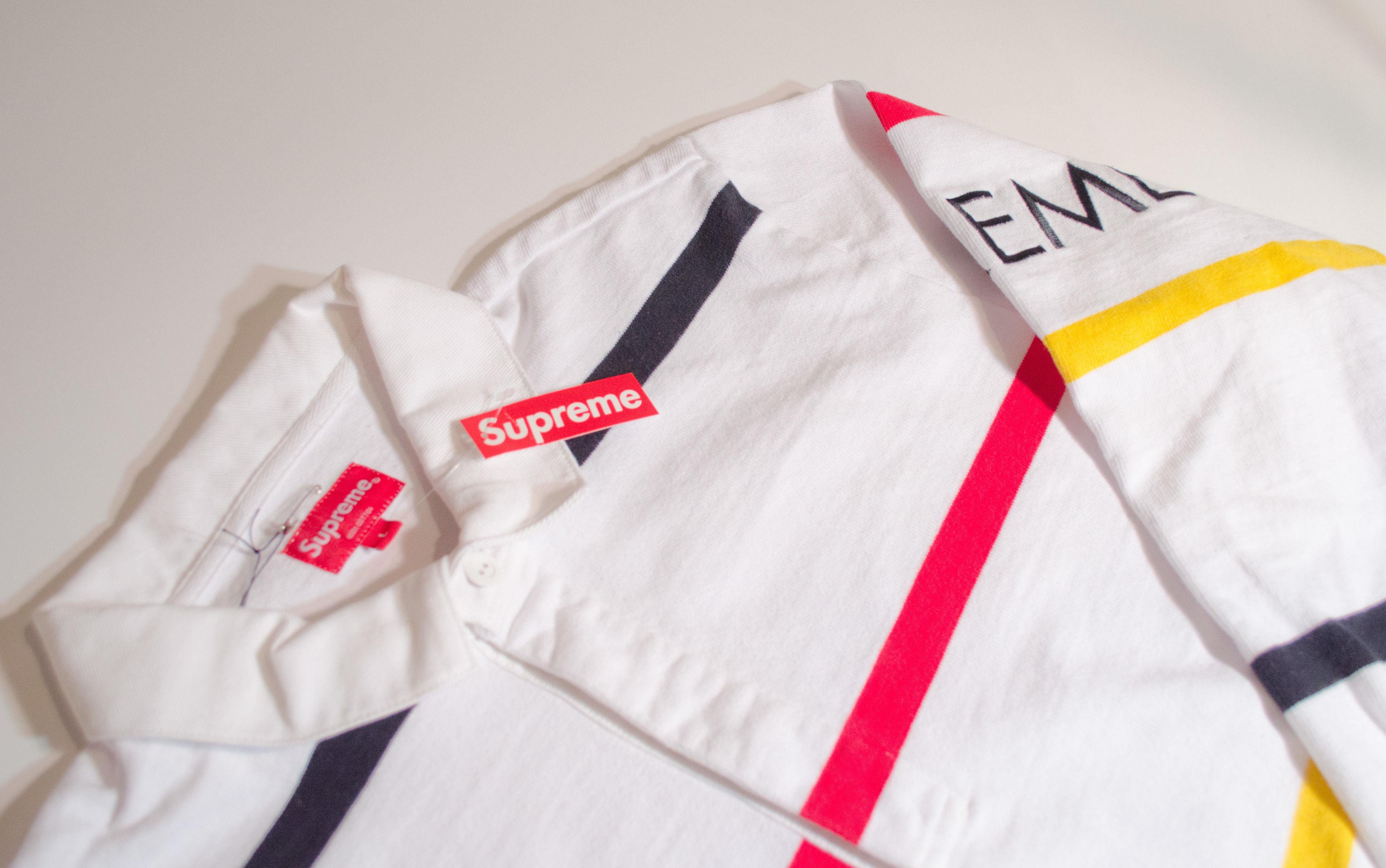 Supreme Striped Rugby White ラガーシャツ(ホワイト)