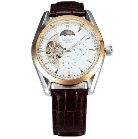 SEWOR  高級 トップブランド 自動巻き オートマメンズ腕時計 レザーベルト ムーンフェイズ ホワイト