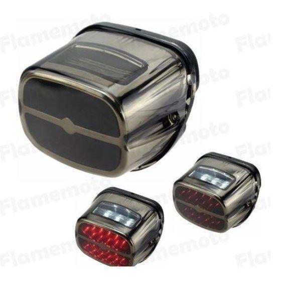 LEDテールランプ ビンテージ ハーレー スポーツスター 12V レッド ホワイト クロームメッキ ナンバー灯付き カスタム