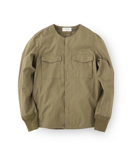 Collarless CPO Rib Shirt Jacket / 襟なしCPOシャツジャケット