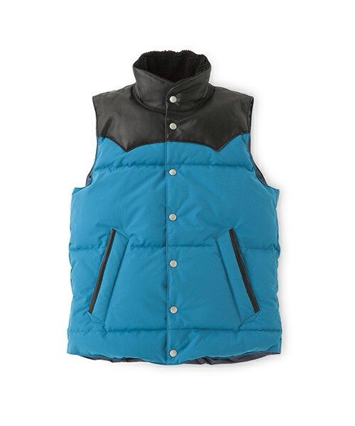 SANDINISTA Nylon/Leather Down Vest / ナイロン&レザーダウンベスト