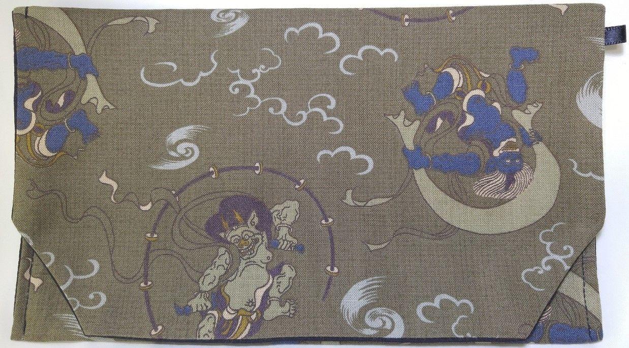 015BL-GWK-A 和調柄 風神・雷神 (御朱印帳約16cmx11.5cm対応)