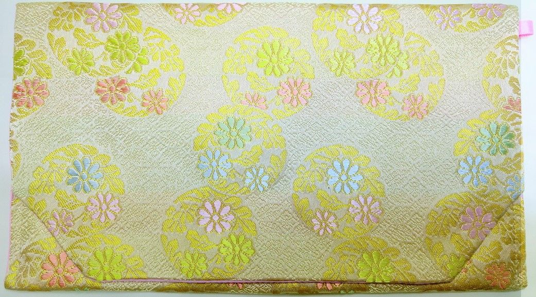 023CR-GWK-A 金襴 正絹 小葵地に花の丸 白茶(御朱印帳約16cmx11.5cm対応)