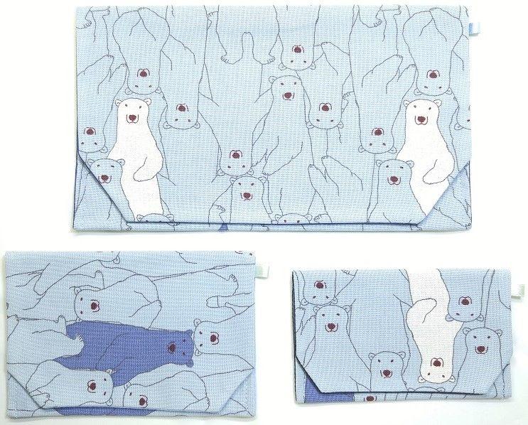 S13AQ-GWM-A  クマ柄 (ブルー) セット(御朱印帳約16cmx11.5cm対応)