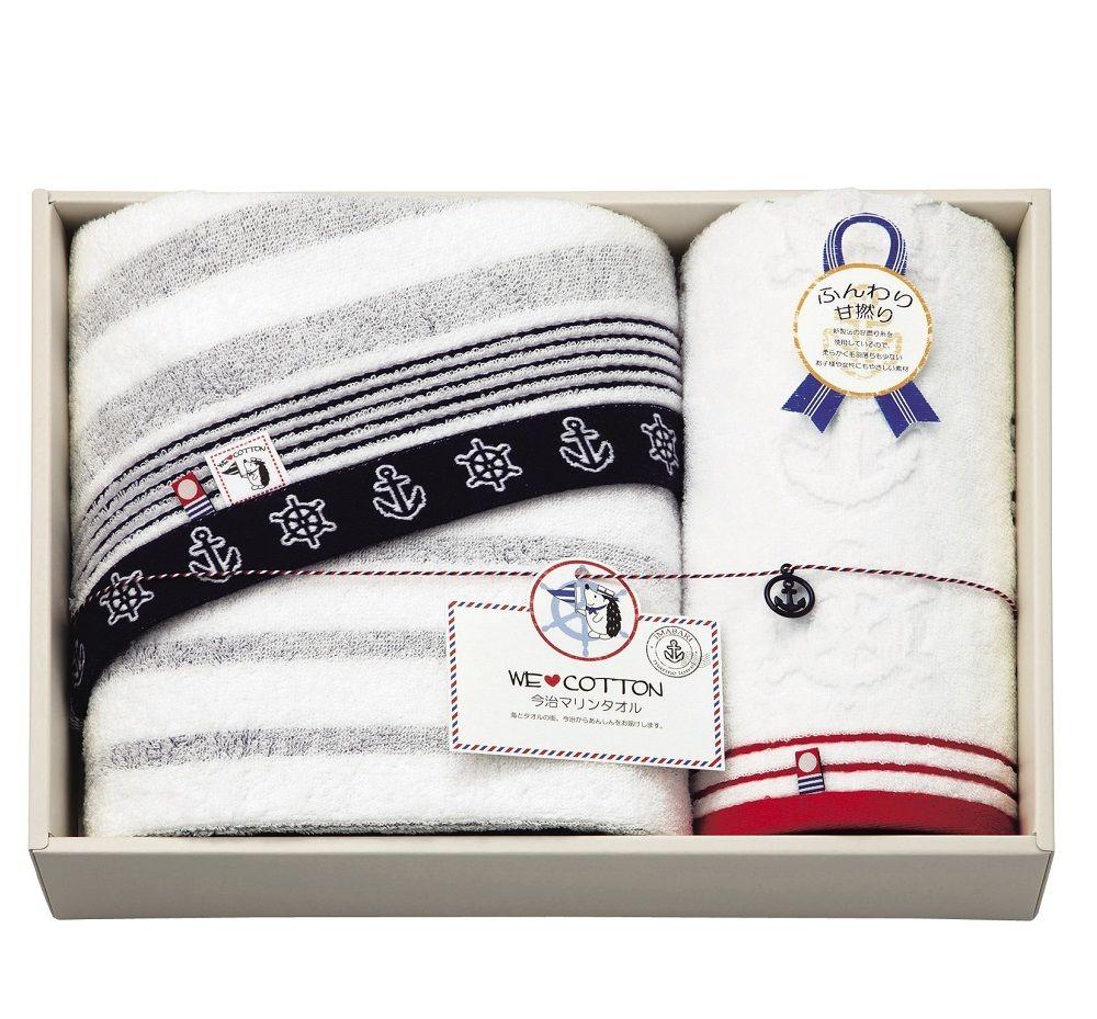 imabari towel (今治タオル) WE LOVE COTTON マリン柄 バスタオル入 2Pセット