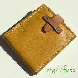 nanan(Dompet-lipat)二つ折り 革財布(イエロー×ホワイト)