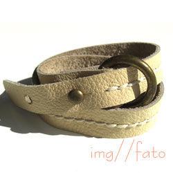 nanan(le-br-putar-ring)レディース 二重巻き 革ブレスレット(ホワイト)
