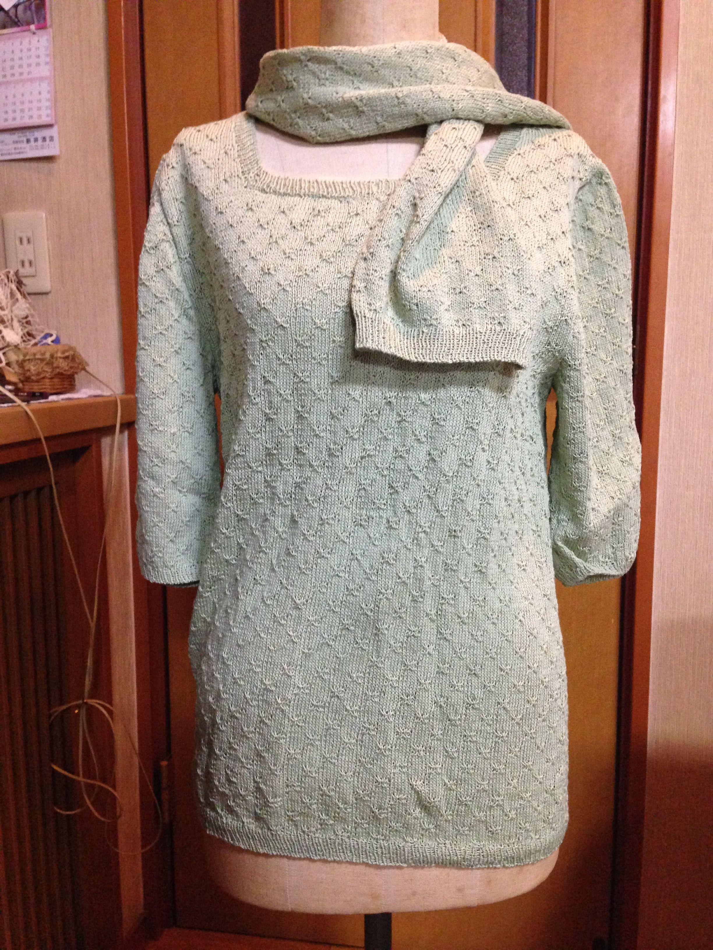 婦人物七分袖セーター&マフラー(モスグリーン)