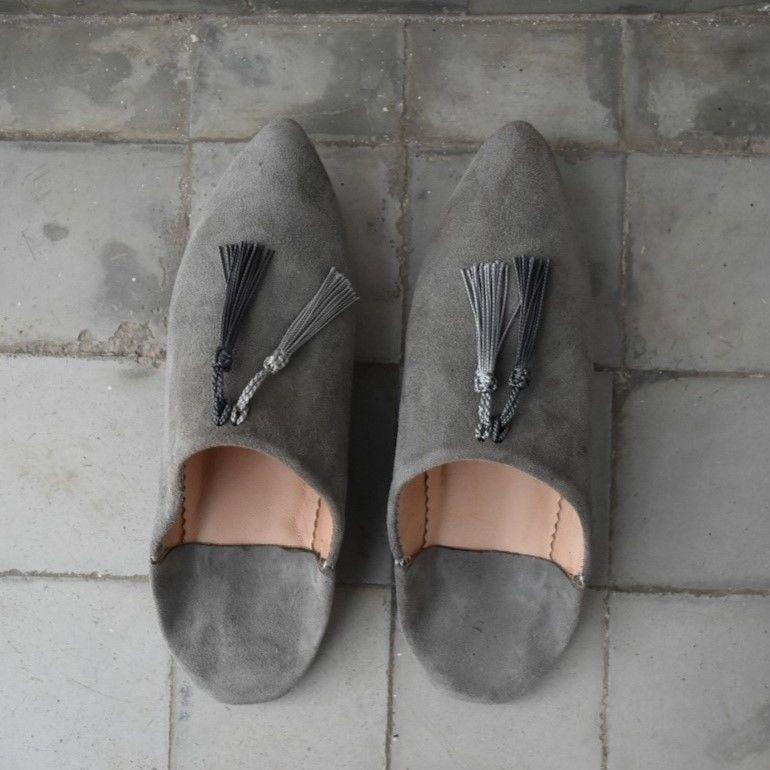 tassel suede babouche #gray