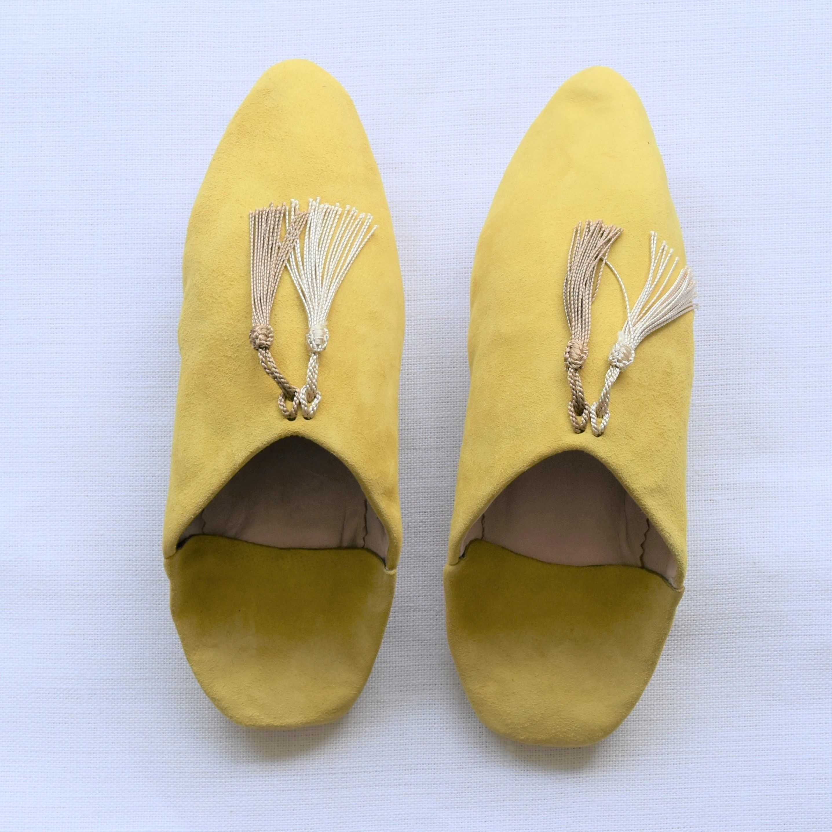 tassel suede babouche  #lights yellow