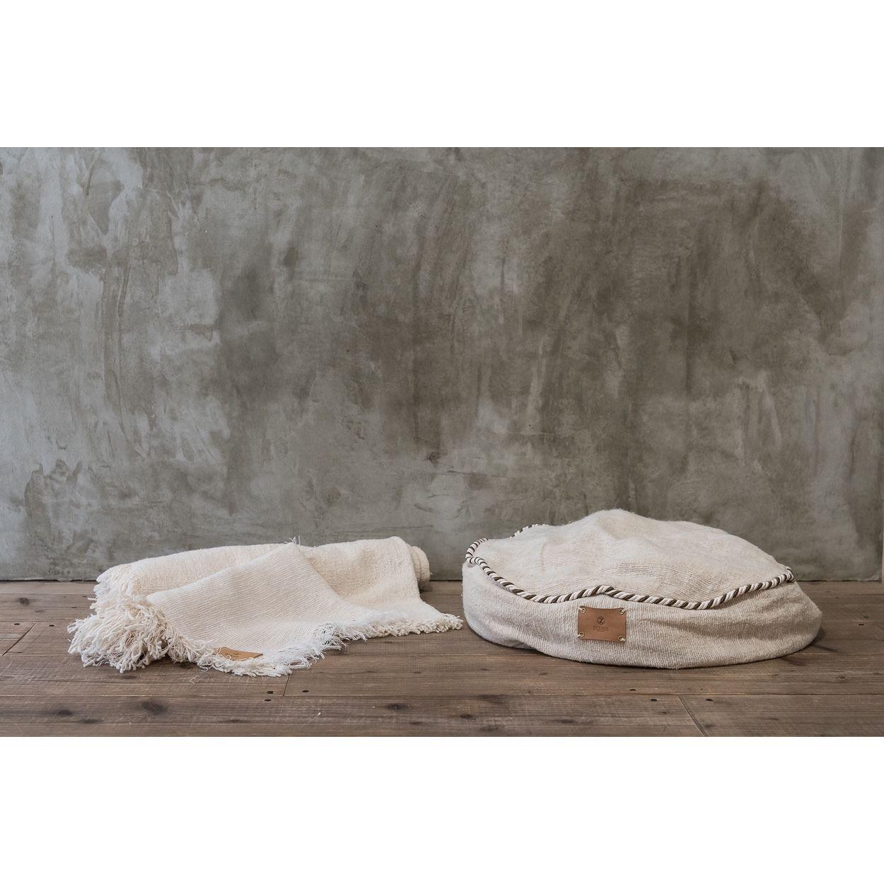 "Organic Cotton ""Garabou""×Hemp Bed Cushion  Blue"