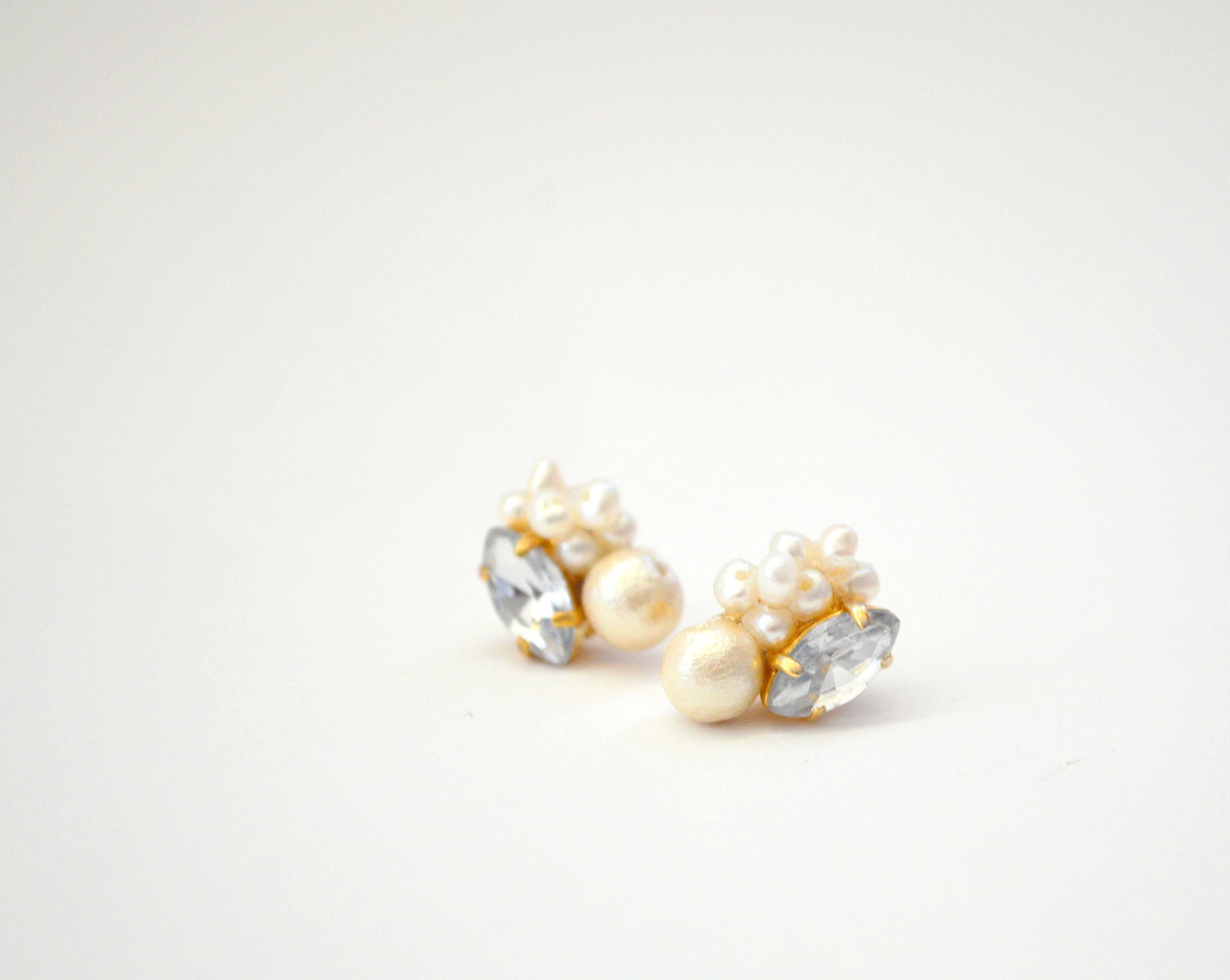 Cotton Pearl bijou  Pierce Earring