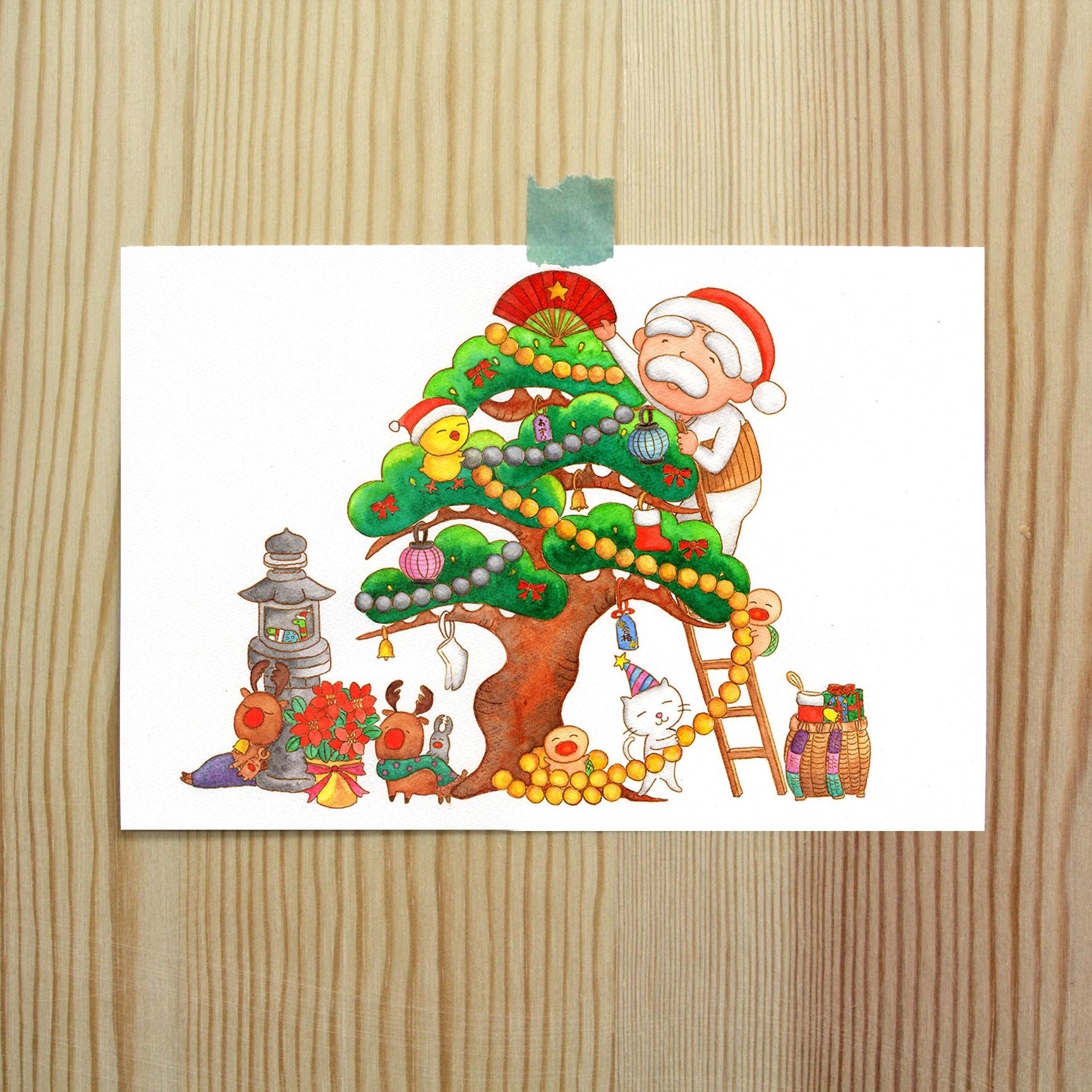 ポストカード (バガスパルプ紙使用)じーさんシリーズ 「じーさんのクリスマスツリー」