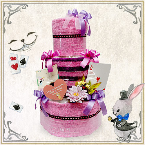 チシャ猫のおむつケーキ(不思議の国のアリス)3段