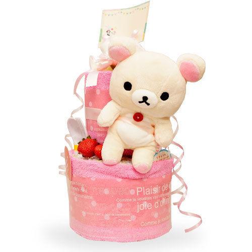 赤ちゃんのように純白でつぶらな瞳の【コリラックマのおむつケーキ】(2段)