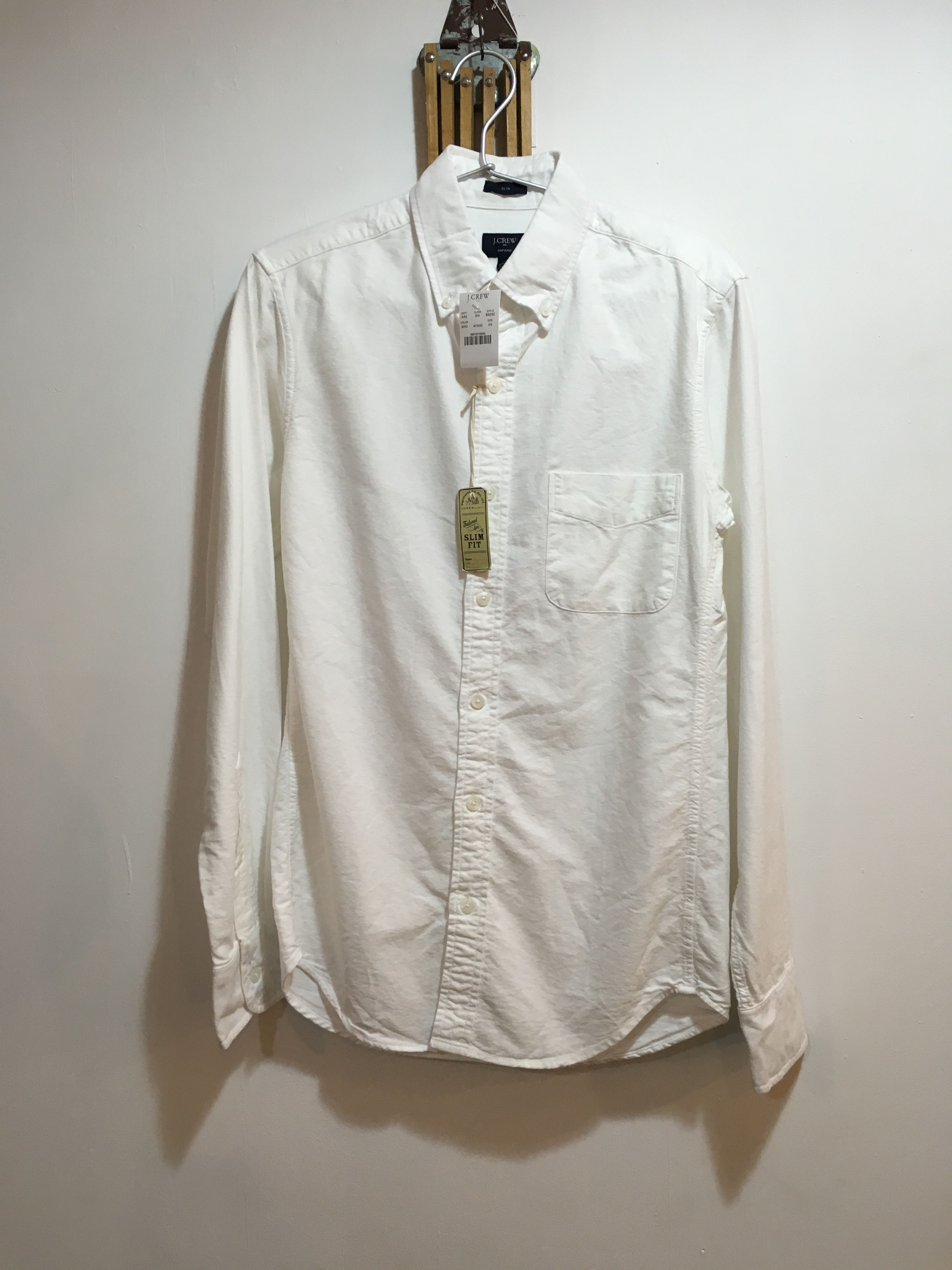 "新品  J.CREW Washed Oxford B.D Shirt""SLIM FIT""  WHITE"