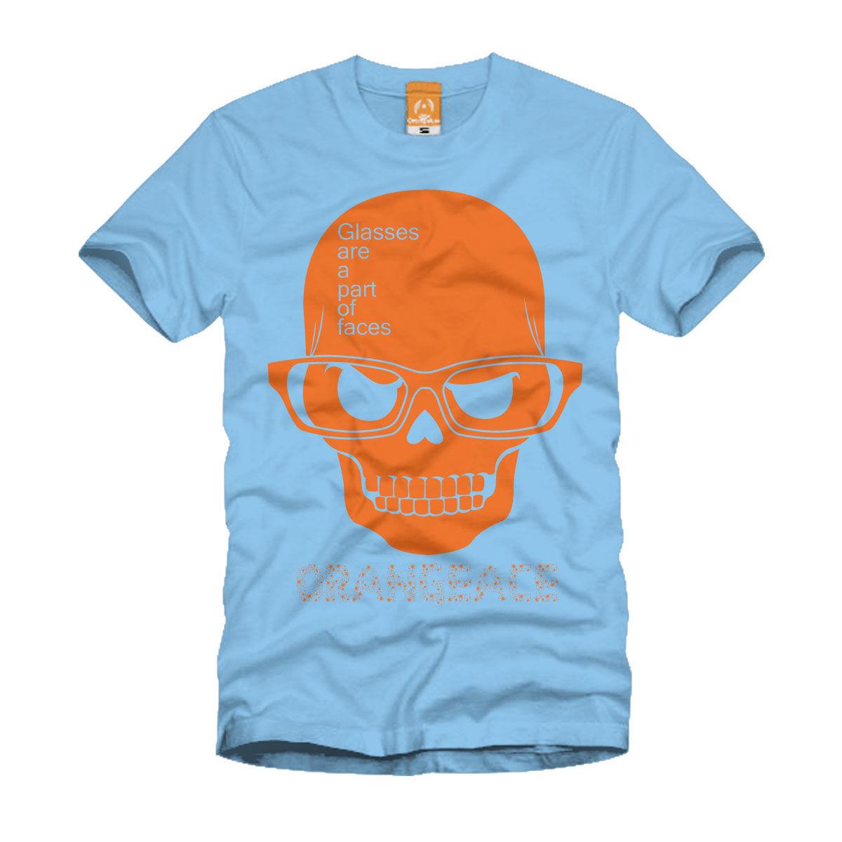 OrangeAce Tシャツ 「メガネスカル」 サックス