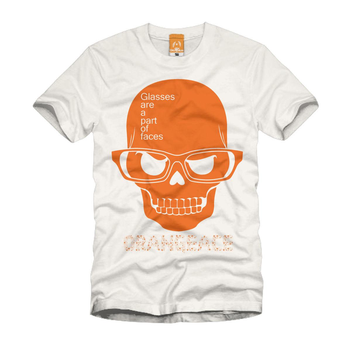 OrangeAce Tシャツ 「メガネスカル」 ナチュラル