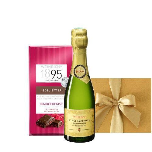 スパークリングワインギフト ベビーボトル フランス スパークリングワイン ラズベリークリスプの板チョコレート ギフト箱入り ミニギフト 誕生日 プレゼント 敬老の日