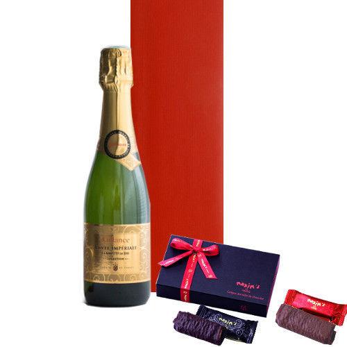 バレンタインギフトに チョコレート菓子とスパークリング フランスのスパークリングワイン 375ml