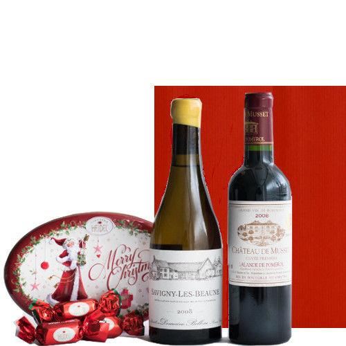 フランス 赤白 ワインセット ボルドーの赤ワイン ブルゴーニュの白ワイン 375ml×2本 クリスマスチョコレートセット ドイツの老舗チョコメーカー「ハイデル」のギフト 箱入り ギフトラッピング付き