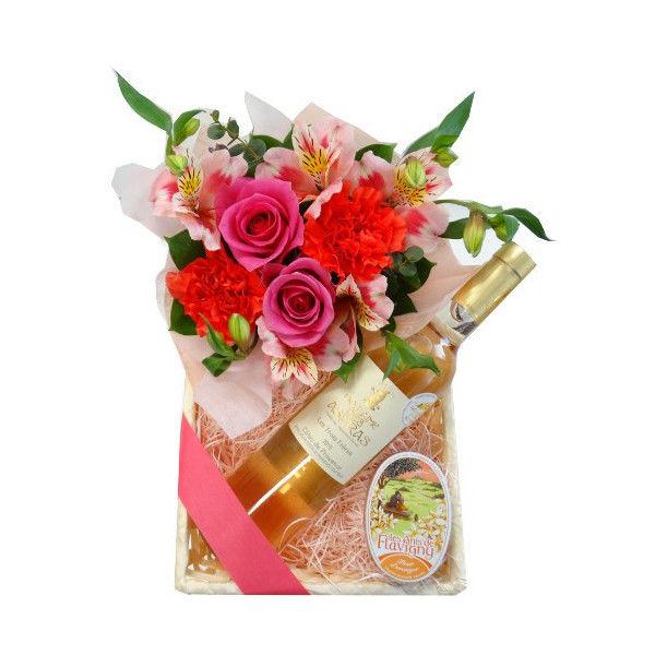 バレンタインに フラワーギフト ビオロゼワイン、お花アレンジとスイーツギフト