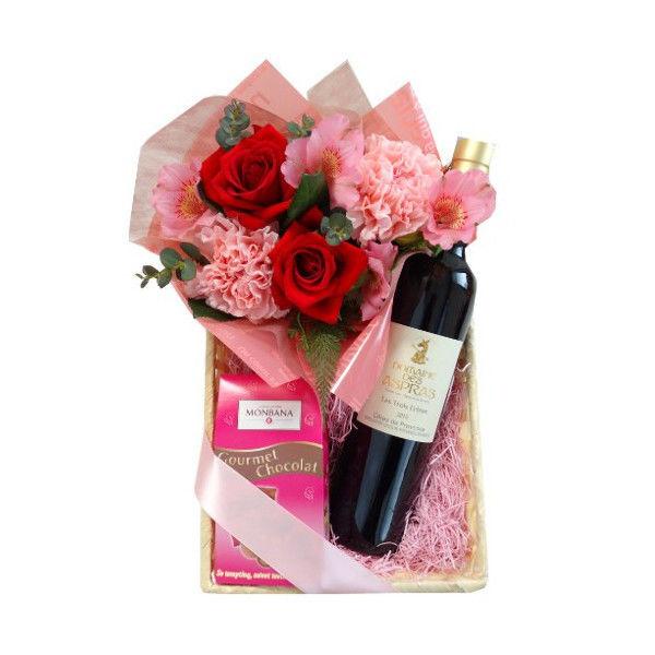 母の日に お花 バラ フランスのチョコレートのスイーツとビオ赤ワイン 500ml