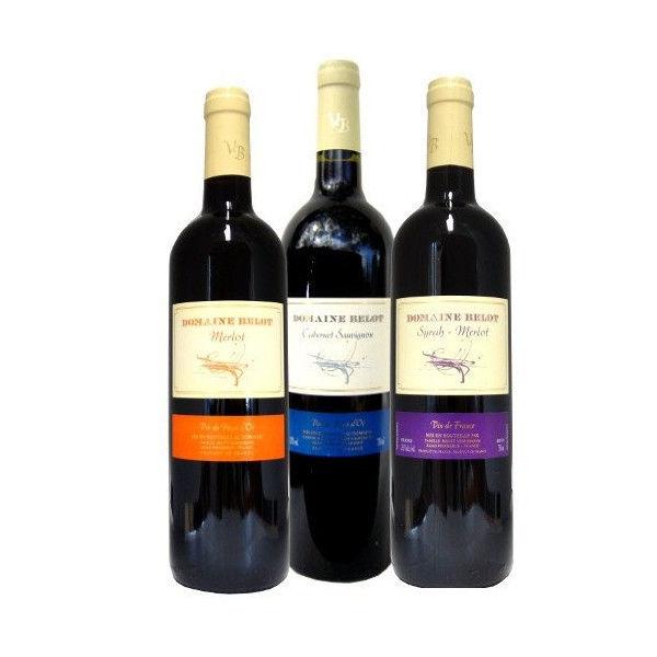 南フランスラングドックの赤ワイン ブドウの種類で飲み比べる3本セット ・ドメーヌ・ベロ 「ル・メルロー」・「カベルネ・ソーヴィニヨン」・「シラー・メルロー」