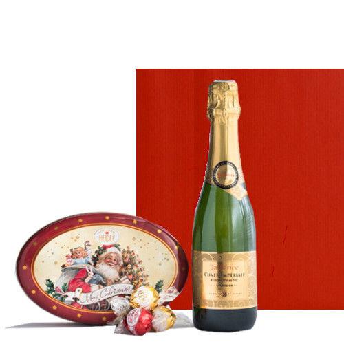 スイーツとスパークリングワインセット フランスのスパークリングと ドイツの有名トリュフチョコレートのギフト缶