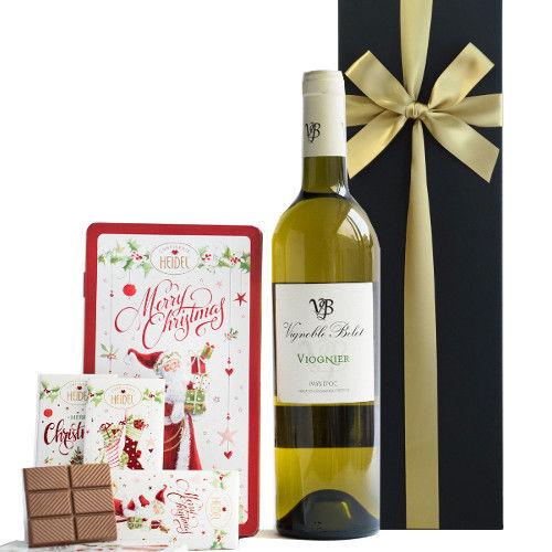 クリスマス限定 お菓子 ギフト フランス 白ワイン ヴィオニエ 2014年 クリスマスチョコレートとの詰合せ