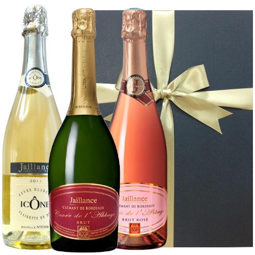 【スパークリングワイン飲み比べギフト】 フランスボルドー地方の「クレマン・ド・ボルドー」キュヴェとロゼの2本セット、コート・ド・ローヌ地方の「キュヴェ・イコン」(3本セット-750mlx3)