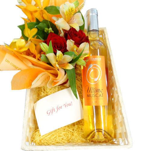 ワインとお花 フラワーギフト フランス 甘口ワイン ハーフボトルサイズ  500ml