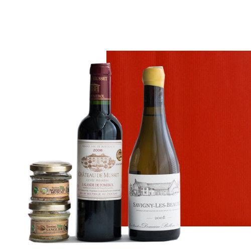 フランス赤白ワインとテリーヌ グルメギフトセット2種類のオーガニックのパテ