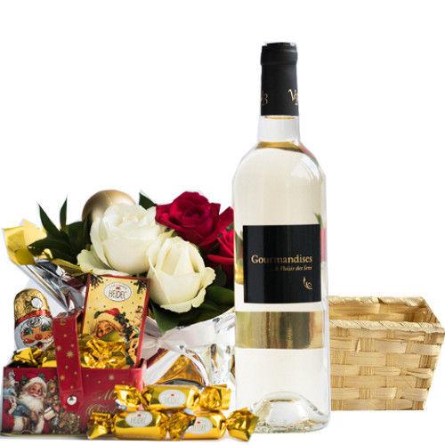 お花、スイーツとワインのギフト フランスの白ワイン 甘口 750ml クリスマスフラワーアレンジ ドイツのチョコレートギフトセット