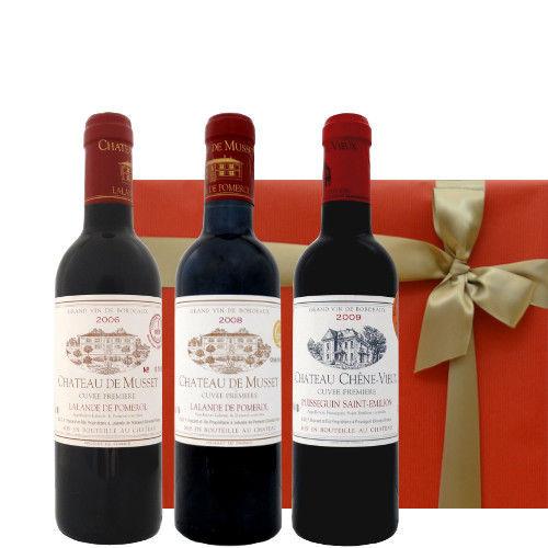ボルドーワイン 飲み比べ3本 ギフトセット ポムロールとサン・テミリヨン ハーフボトルサイズ 375ml×3本