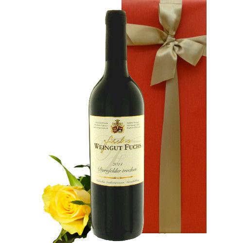 父の日のプレゼント 赤ワインとお花のギフト 芳醇な果実味のドイツの赤ワイン「ドルンフェルダー」と黄色のバラ