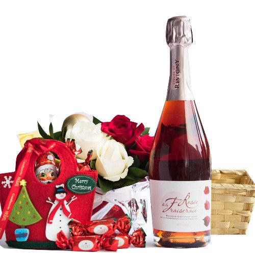女性へのプレゼントに フランスの苺スパークリングワイン 750ml クリスマスのチョコレートセット バラのクリスマスフラワー 詰め合わせギフトセット